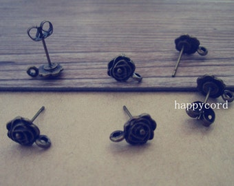 20pcs 8mm Antique Bronze Rose  Flower  Stud Earrings Accessories