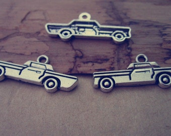 25pcs Antique silver car Pendant charm 10mmx28mm