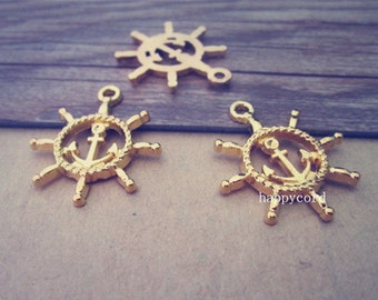 20pcs gold color rudder pendant charm 22mmx27mm