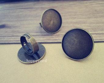 6pcs Adjustable antique bronze (copper ) Ring tray base 25mm