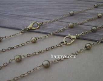 20pcs 70cm antique gold  bead chain (copper) with lobster clasp 4mm