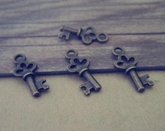 50pcs Antique bronze Key charm pendant  7mmx17mm
