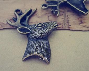 6pcs Antique Bronze Deer head Pendant Charms 43mmx59mm