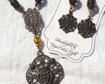Our Lady Queen of Heaven Rosary Necklace & Earring Catholic Jewelry Set