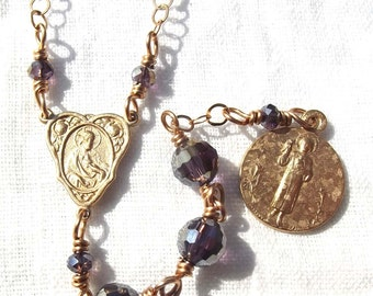 Guardian Angel Chaplet Rosary with Chinese Crystal