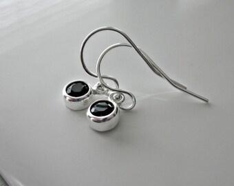 Tiny Sterling Silver Black Onyx Earrings Set in Sterling Silver Bezels