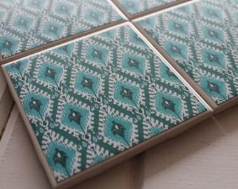 Tribal Moroccan Coasters Four Piece Ceramic Tile Set