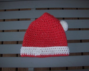 Red,White,Crocheted,Hat,Sparkle,Boy,Girl,Toddler,Gift,Holiday,Photo Prop,Children
