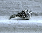 Vintage Filigree 18K White Gold Diamond Engagement Ring - 0.84ct