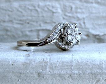 RESERVED - Vintage 18K White Gold Diamond Engagement Ring -0.50ct.