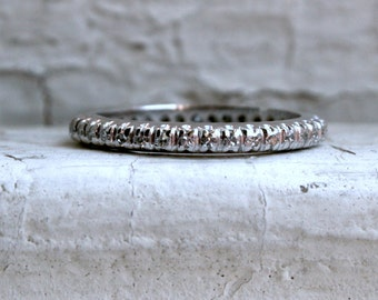 Vintage 14K White Gold Diamond Eternity Wedding Band - 0.76ct.