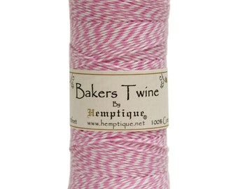 Light Pink and White Cotton Bakers Twine for Packaging, Etc. 410 Feet - Natural and Eco-Friendly