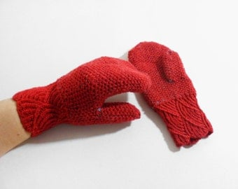 Knitted Wool Mittens - Red, Mohair Inside, Bee Stitch, Size Medium