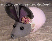 "CDH ""Three Blind Mice..."" Infant Mouse Doll or Pin Cushion 4"" Pink Swiss Polka Dot With Pink Butterfly #54"