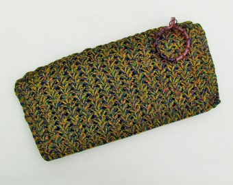 1940's corde clutch, multicolor crocheted purse with lucite zipper pull, oversize clutch