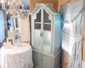 Shabby Hutch Cabinet - Entertainment Center -Storage Cabinet - Light Blue Hutch - French Country Style