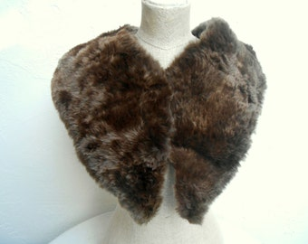 Vintage 40s Real Brown Fur Shrug/Collar.