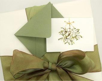 mistletoe gift enclosure card set Christmas stocking stuffer ivy green teacher gift golden ribbon