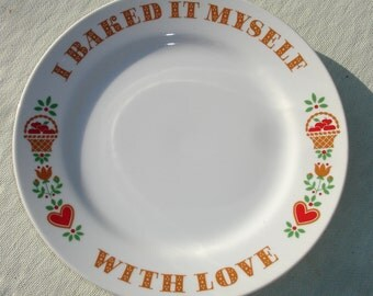 Vintage Avon 'I Baked It Myself with Love' Platter Plate