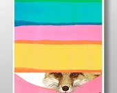 FOX - Daydreaming Fox print, Mixed media, Happy art, Animal painting,colorful art,watercolor art, portrait,Decorative art, POSTER 8x10