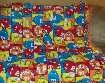 M&M's fleece tie blanket
