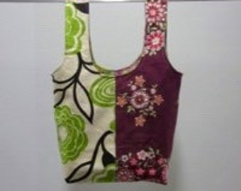handmade carry-all lunch bag or purse - eco friendly, washable, durable - green pink & burgundy flowers