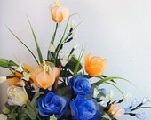 Handmade Vibrant  Blue and Orange Flowers Arrangment
