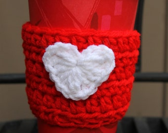 Red Coffee Cozy with White Heart