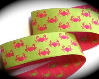 """Woven Jacquard Ribbon -1"""" x 1 1/2 yards Paws - Green and Pink Reversible Crab - 1 left"""