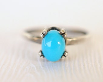 1970's vintage / Sterling silver / Blue Turquoise Glass stacking ring / prong set / simple minimal jewelry