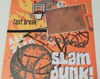 12x12 Premade Scrapbook Layout- Basketball