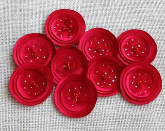 Red Satin and Lace Poppies Embellishment