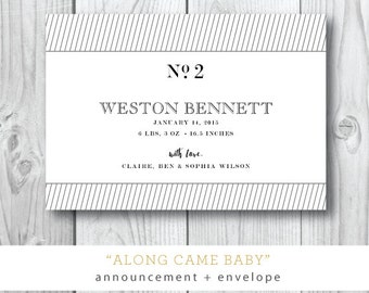 Along Came Baby Suite | Baby Announcement Invitation | Printed or Printable by Darby Cards