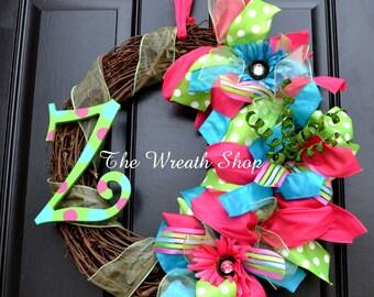 Monogram Summer Wreath - Summer Wreath - Mother's Day - Spring Wreath - Monogram Wreath