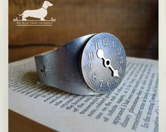 Frozen Time. Cuff Bracelet -- (Clock, Watch, Vintage-Style, Antique Silver, Unique, Funky, Simple, Rustic, Time Piece, Gift Under 30)