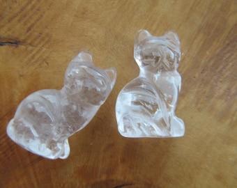 Clear Quartz Cat Figurine F176