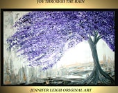 "Made to Order Original Large Abstract Painting Modern Acrylic Oil Painting Canvas Art Silver White Purple Tree Rain  36x24"" Texture  J.LEIGH"