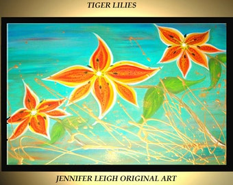 """Original Large Abstract Painting Modern Contemporary Canvas Art Turquoise Blue Green Gold LILIES 36x24"""" Palette Knife Texture Oil J.LEIGH"""