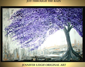 """Made to Order Original Large Abstract Painting Modern Acrylic Oil Painting Canvas Art Silver White Purple Tree Rain  36x24"""" Texture  J.LEIGH"""