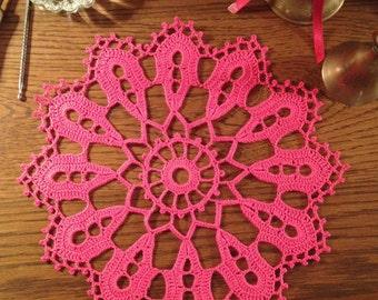 Pink Doily  / Home Decoration / Placemat / Lace / Wedding Centerpiece / Tabletop Decor/ Fiber Art / Pink