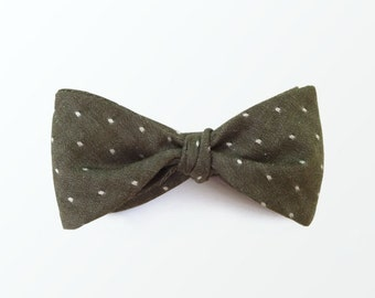 Chambray Bow Tie, Dottie Olive Self Tie Bow Tie for Men, Wedding and Gift for Him / READY TO SHIP