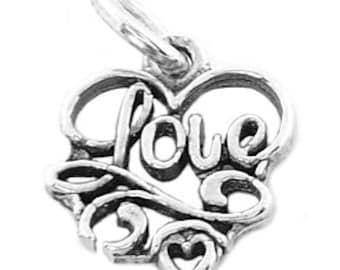 Sterling Silver Script Love Inside Heart Charm (Flat Charm)