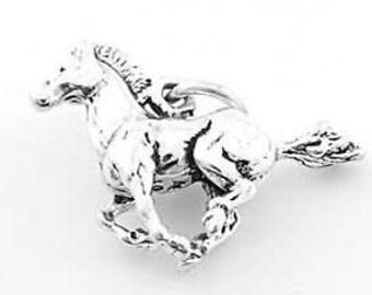 Sterling Silver Running Horse Stalling Mustang Charm (3d Charm)
