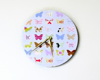 Wall Clock, Butterflies Decor, Whimsical Clock,  Decor and Housewares,  Home and Living, Home Decor