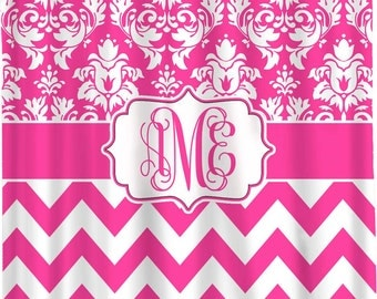 Custom Damask Chevron Shower Curtain Personalized - Any Color