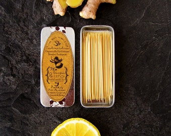 Organic Herbal Toothpicks - Organically & Wild Infused Bamboo Picks - Lemon Ginger