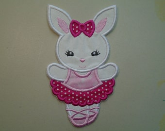 Ballerina Bunny  iron on or sew on applique patch