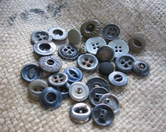 Vintage Utility Buttons Metal or Brass for Jeans Dungarees Overalls Work Clothing from the Button Box 30 Buttons
