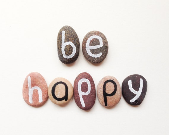 Be Happy, 7 Magnets Letters, Custom Quote, Beach Pebbles, Inspirational Word or Quote, Gift Ideas, Sea Stones, Personalized, Rocks