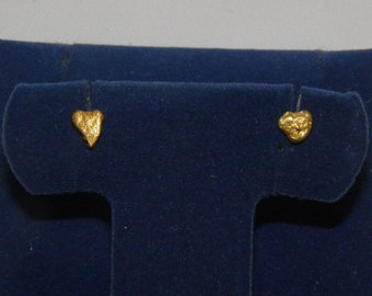 Natural Real Gold Nugget Earrings, Heart Shaped
